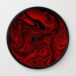 Red and black marble pattern Wall Clock
