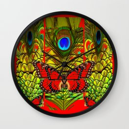 RED MONARCH BUTTERFLIES LIME COLOR PEACOCK ART Wall Clock