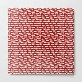 Navy red maritime sea fishes pattern Metal Print