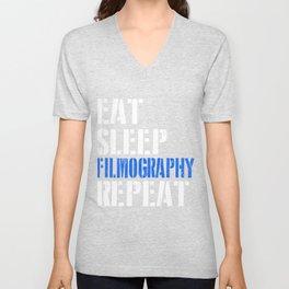 Eat. Sleep. Filmography. Repeat. Unisex V-Neck