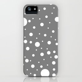 Mixed Polka Dots - White on Gray iPhone Case