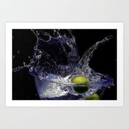 Splash de copa de agua con limon Art Print
