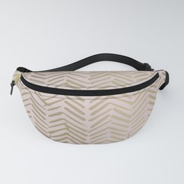 Bohemian, Herringbone, Abstract, Pattern, Blush Pink and Gold Fanny Pack