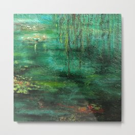 Dark Green Monet´s Theme of Waterlilies Metal Print