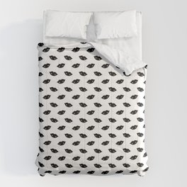 Spooky Black Halloween Vampire Lips With Fangs On Ghost White Comforters