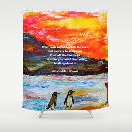 Inspirational Finding Your Love Quote With Penguins Painting Shower Curtain