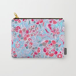 Sweet Spring Floral - cherry red & bright aqua Carry-All Pouch