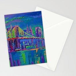 New York City Night Lights - palette knife painting urban Brooklyn bridge skyline Stationery Cards