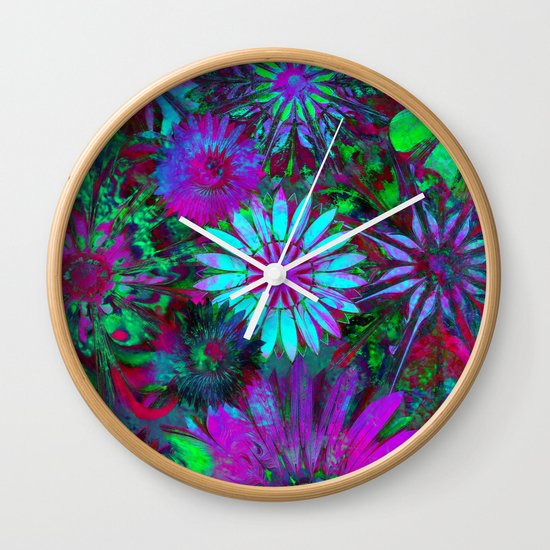 Rivalry of Flowers - green & lilac Wall Clock