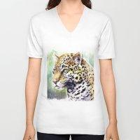 jaguar V-neck T-shirts featuring Jaguar by Juan Pablo Cortes