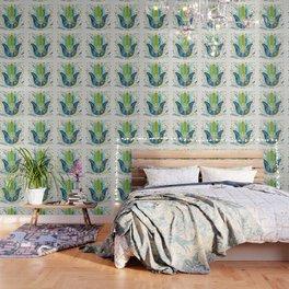 Hamsa Hand Lime Turquoise Navy Palette Wallpaper