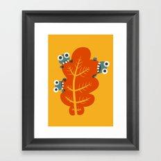 Cute Bugs Eat Autumn Leaf Framed Art Print