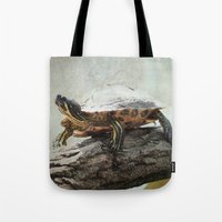 turtle Tote Bags featuring turtle by Tanja Riedel