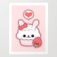 Kawaii Bunny Cake Art Print