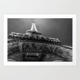 Eiffel Tower 2 (Black and White) Art Print