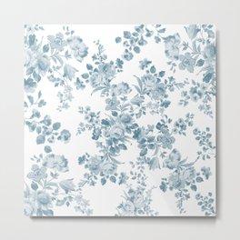 Vintage blue white bohemian elegant floral Metal Print