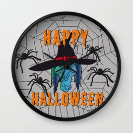 turquoise Witch Happy Halloween Wall Clock