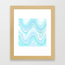 Cool Pastel Blue Lava Marble  #marble #society6 #abstractart Framed Art Print
