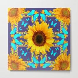 Turquoise Butterflies & Yellow Sunflower Puce-Grey Art Metal Print