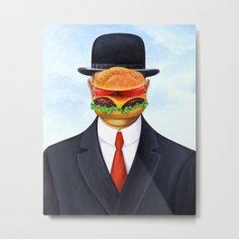 Magritte Burger Metal Print