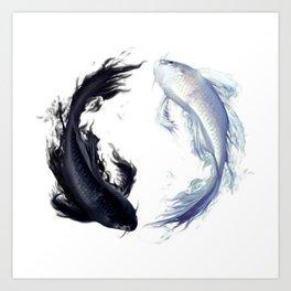 Yin Yang Carps Art Print