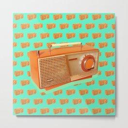 """Classic Retro Vintage Atlas Radio Pattern Orange and Green"" Metal Print"