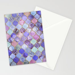 Royal Purple, Mauve & Indigo Decorative Moroccan Tile Pattern Stationery Cards
