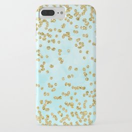 Sparkling gold glitter confetti on aqua ocean blue watercolor background - Luxury pattern iPhone Case