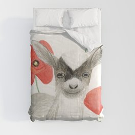 Baby Goat and Red Poppies 2 Comforters