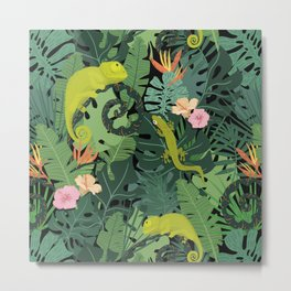 Chameleons And Salamanders In The Jungle Pattern Metal Print