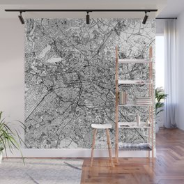 Berlin White Map Wall Mural