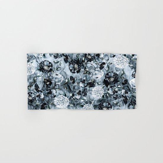 Black Flowers Hand & Bath Towel