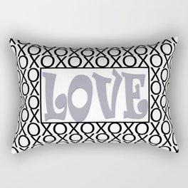 Pantone Lilac Gray LOVE XOs (Hugs and Kisses) Typography Art Rectangular Pillow