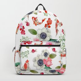 Modern pink red watercolor tropical floral koi fish pattern Backpack