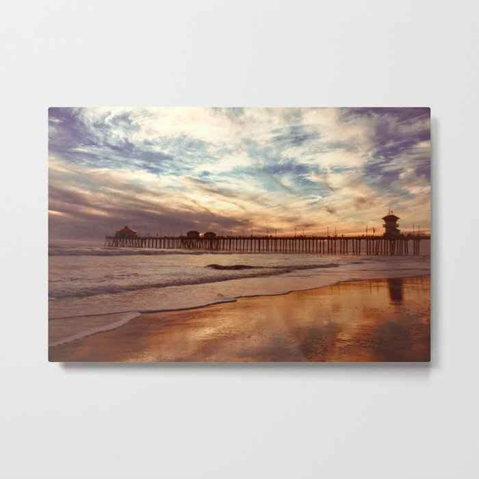 Autumn Beach Relections Metal Print