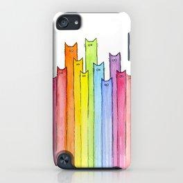 Cat Rainbow Watercolor Pattern iPhone Case