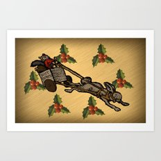 Christmas on the Nut Express Art Print