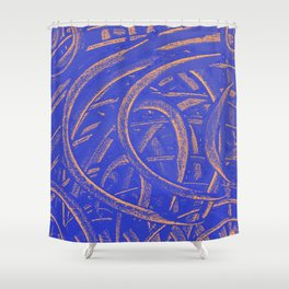 Junction - Blue and Orange Shower Curtain