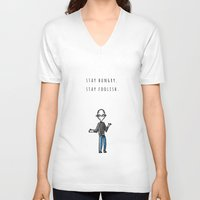 steve jobs V-neck T-shirts featuring JOBS by Nihonjin Estudio