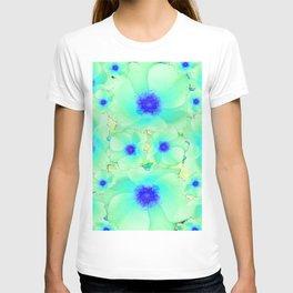 Celadon Jade Green-Blue Color Flower Pattern T-shirt