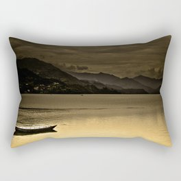 Lone boat on Phewa Lake, Pokhara, Nepal Rectangular Pillow