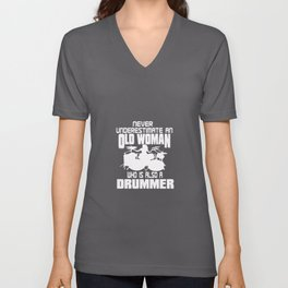 OLD WOMAN DRUMMER Unisex V-Neck