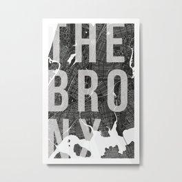 The Bronx Mono Street Map Text Overlay Metal Print