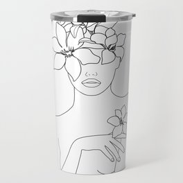 Minimal Line Art Woman with Flowers IV Travel Mug