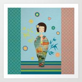 Kokeshi Geisha Japan Green Art Print