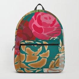 Golden roses on green Backpack