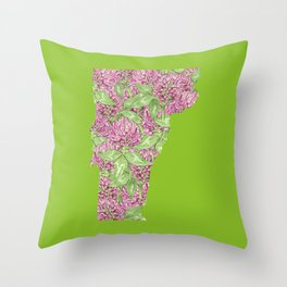 Vermont in Flowers Throw Pillow
