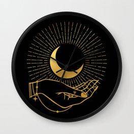 Black & Gold La Lune In Hand Wall Clock