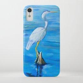 Great Blue Heron in Snug Harbor- Oil Painting iPhone Case