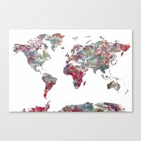 map Canvas Prints featuring World Map  by MapMapMaps.Watercolors